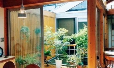 ソトを取り込んで暮らす家|かなちゃんち (リビングから中庭デッキを見る)