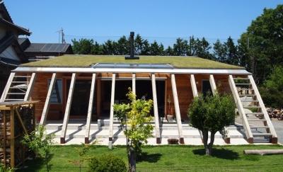 芝生の屋根を持つ天然エコな住まい (大地に根付く家|mat house)