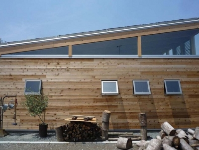 無垢板の外壁 (群馬県太田市・芝屋根住宅-1|mat house)
