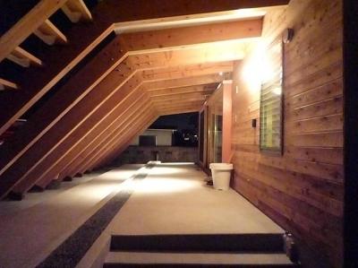 屋外テラス夜景 (群馬県太田市・芝屋根住宅-1 mat house)