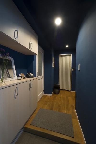 ブルーの玄関 (自然素材とお気に入りの色に囲まれた住まい)