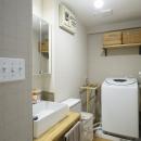 木×鉄素材がかっこいい、洗面室