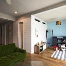 自然素材とお気に入りの色に囲まれた住まいの写真 ファミリースペースとファミリークローゼット