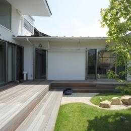 ひかりの架け橋(港南台の家) (ウッドデッキに面した庭の風景)