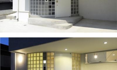 ひかりと雲の家(師岡の家) (外観のアクセントとなるガラスブロック壁)