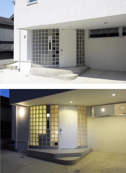 ひかりと雲の家(師岡の家)の写真 外観のアクセントとなるガラスブロック壁