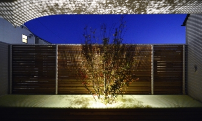 """ふたつの木の家 〜常に家族を見守る2つのシンボルツリー〜 (夜の""""空庭"""")"""