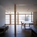 宇佐の家の写真 装飾ガラス障子と雪見障子の並び