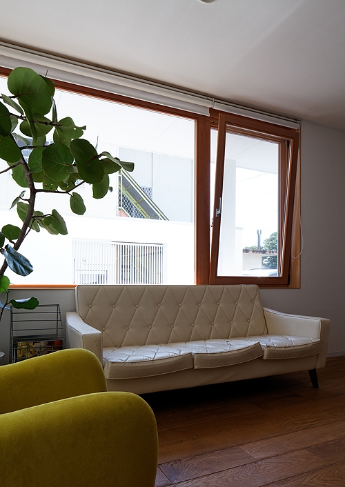 宇佐の家の写真 リビングの雰囲気を変える木製サッシ