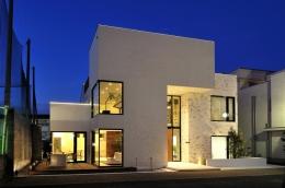 自然素材の家 駒沢モデル (夜の外観)