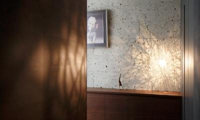 石と木がつくる趣の家 (玄関)