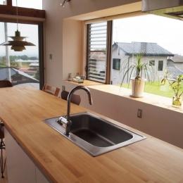 芝生デッキのある家|W HOUSE (ダイニング・キッチン)