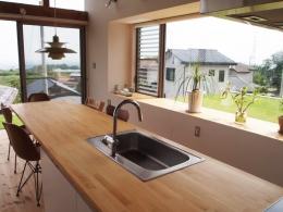 群馬県榛東村・芝屋根住宅-3|W HOUSE (ダイニング・キッチン)