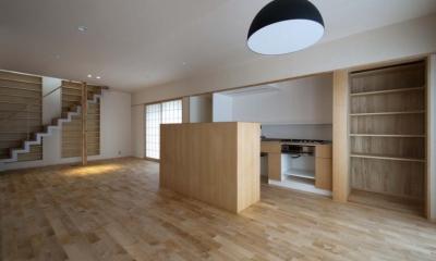 石引の家 築30年の住宅をガルバリウムで軽量化 (キッチンは小さな収納カウンターで目隠し)