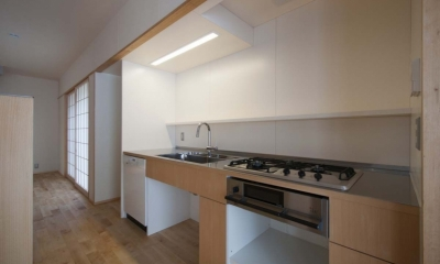 石引の家 築30年の住宅をガルバリウムで軽量化 (壁に組み込んだキッチン)