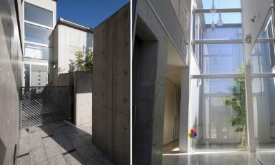 アプローチ・玄関|久安の家|プライベートな外部空間を持つ家