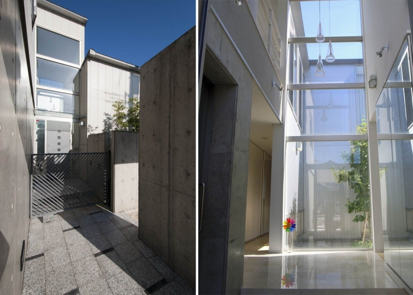 久安の家|プライベートな外部空間を持つ家の写真 アプローチ・玄関