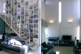 久安の家|プライベートな外部空間を持つ家 (リビング)