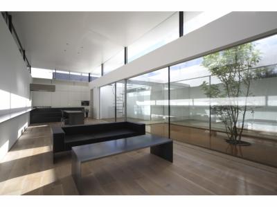 SI-house_薄い屋根と水盤と一体になる家 (LDK)