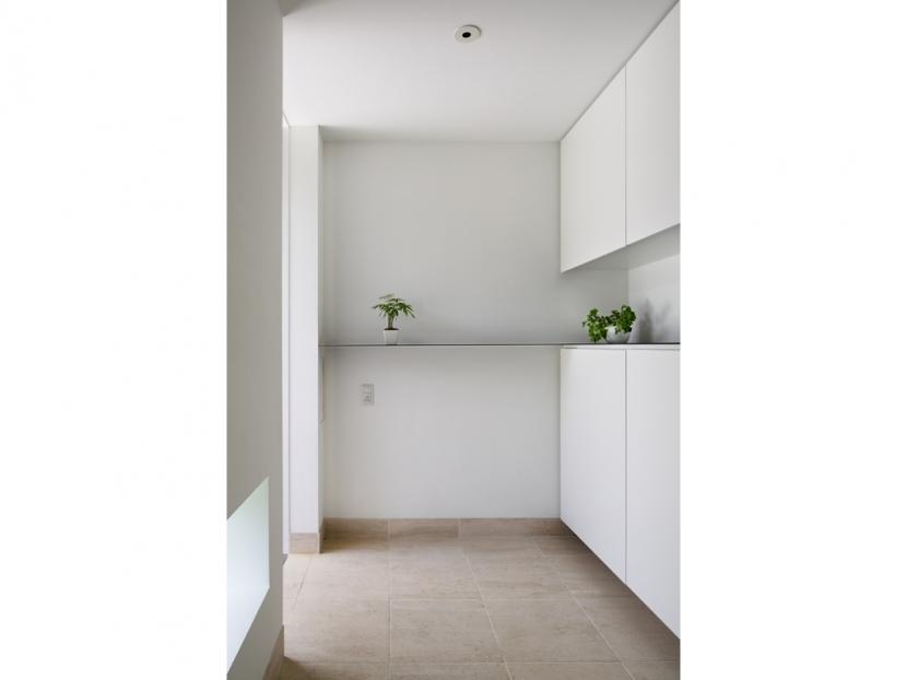 SI-house_薄い屋根と水盤と一体になる家の部屋 玄関