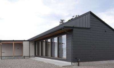 南砺市の家|砺波平野に建つ夫婦二人のための平屋住宅 (ガルバリウム一文字葺と立てハゼ葺の外観)