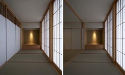 南砺市の家|砺波平野に建つ夫婦二人のための平屋住宅 (たたみ廊下)