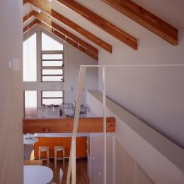 1、2階で住み分ける完全分離型の2世帯住宅 (ロフトから見る)