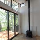 軽井沢の別荘の写真 小さな薪ストーブ