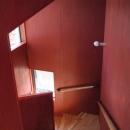 軽井沢の別荘の写真 スカンジナビアンレッドの階段室