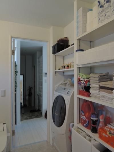 洗面脱衣室 (ペットのために「白」のリノベーション)