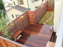 ウッドフェンスでプライバシーを確保した屋上庭園 (屋上菜園とウッドデッキがあるお家)