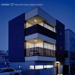 011船橋Kさんの家 (外観夕景)