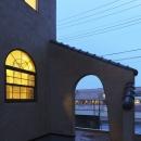 雨の日の夕景