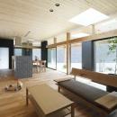 「阿久比の家」広いデッキ・水平に広がる・カフェ