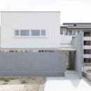 「草津の家」旗竿地・中間領域・坪庭