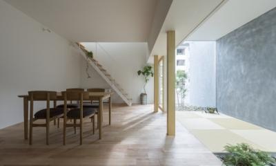 プライバシーを確保しつつ開放的な旗竿地に建つ家(草津の家) (LDK)