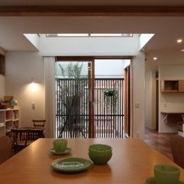 交差点に建つ光庭の家 (光庭のあるリビングダイニング)