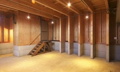 木造軸組み大スパンの家 (1階のオーナー様の部屋)