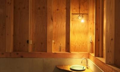木造軸組み大スパンの家 (コーナーの手洗い器)