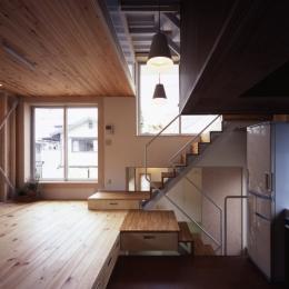 リビングダイニングキッチン (高槻のスキップフロアハウス|スキップフロアで狭い敷地を有効に使いたおす)