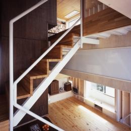 高槻のスキップフロアハウス|スキップフロアで狭い敷地を有効に使いたおす (階段)