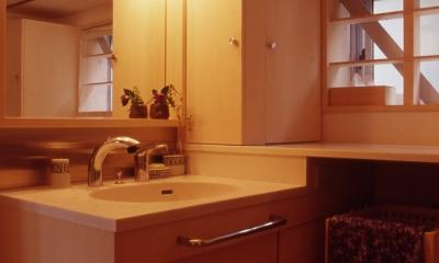 洗面室 高槻のスキップフロアハウス スキップフロアで狭い敷地を有効に使いたおす