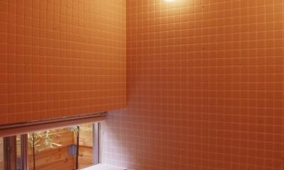 高槻のスキップフロアハウス|スキップフロアで狭い敷地を有効に使いたおす (浴室)