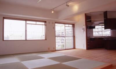 リビングダイニングキッチン|高槻の畳間のあるマンション リノベーション|腰を下ろすとお尻に根がはる畳間あり