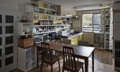 ダイニングキッチン|吹田山田のテラスハウス リノベーション|お孫さんが走り回る30畳のリビングを実現