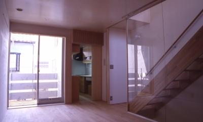 大阪のミニクーパーな家|ミニクーパーのように小さくて高性能でスタイリッシュな家 (リビング)