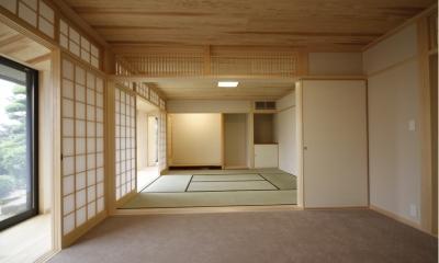 北摂のひろい家|伝統的な座敷と二世帯に対応する新しい住まい (座敷)