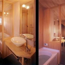 リフォーム・リノベーション(老後を見据えて自宅の一部を改修) (開放的で木の質感がいっぱいのサニタリースペース)