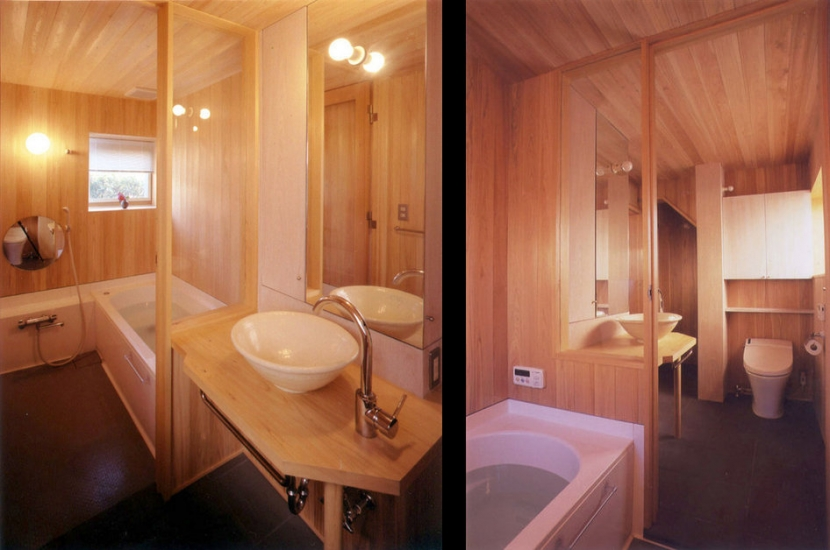 リフォーム・リノベーション(老後を見据えて自宅の一部を改修)の部屋 開放的で木の質感がいっぱいのサニタリースペース