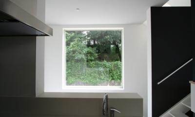 アトリエのあるスキップフロアの家 OUCHI-03 (キッチンから見る借景窓)